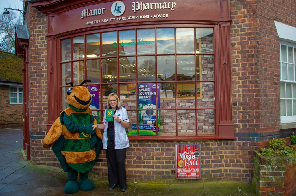 Mandy meets Billy the Bee at Manor Pharmacy